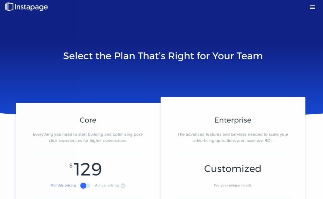 Instapage Pricing Packages