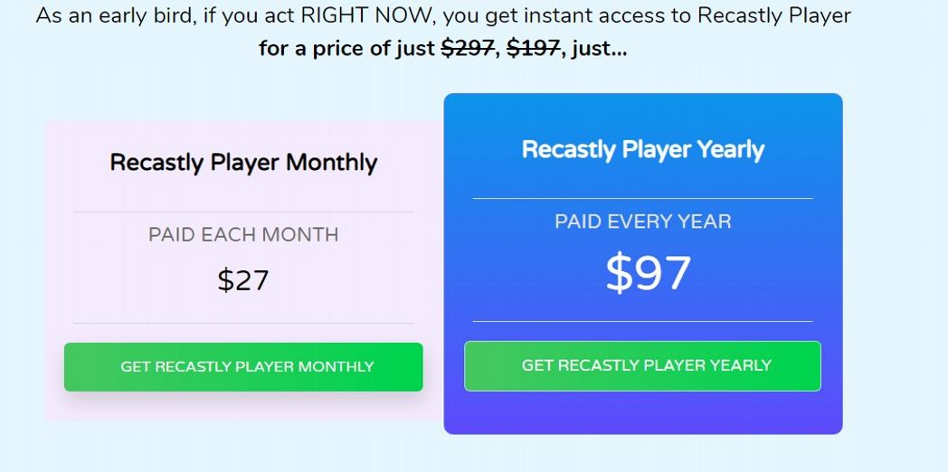 Recastly Pricing Packages