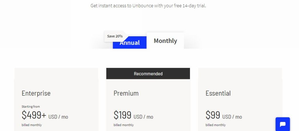 Unbounce Pricing Packages